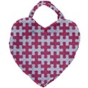 PUZZLE1 WHITE MARBLE & PINK DENIM Giant Heart Shaped Tote View2
