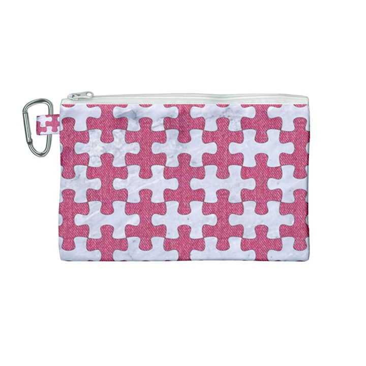 PUZZLE1 WHITE MARBLE & PINK DENIM Canvas Cosmetic Bag (Medium)
