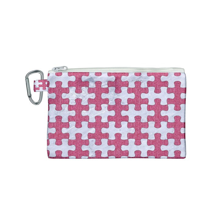 PUZZLE1 WHITE MARBLE & PINK DENIM Canvas Cosmetic Bag (Small)