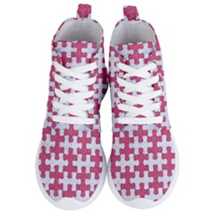 Puzzle1 White Marble & Pink Denim Women s Lightweight High Top Sneakers