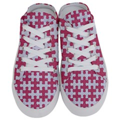 Puzzle1 White Marble & Pink Denim Half Slippers