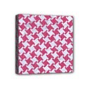 HOUNDSTOOTH2 WHITE MARBLE & PINK DENIM Mini Canvas 4  x 4  View1