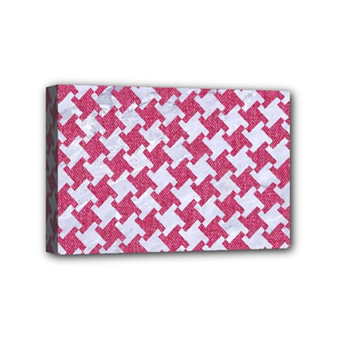 Houndstooth2 White Marble & Pink Denim Mini Canvas 6  X 4