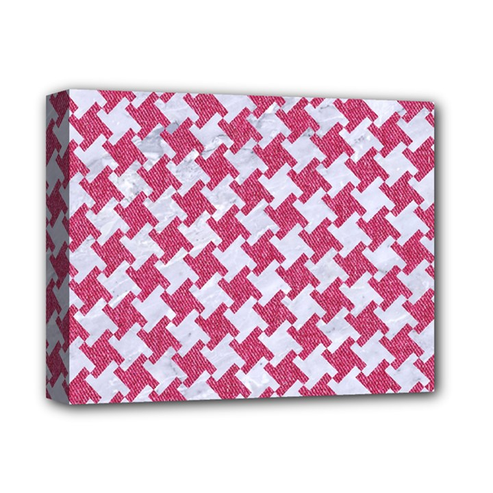 HOUNDSTOOTH2 WHITE MARBLE & PINK DENIM Deluxe Canvas 14  x 11