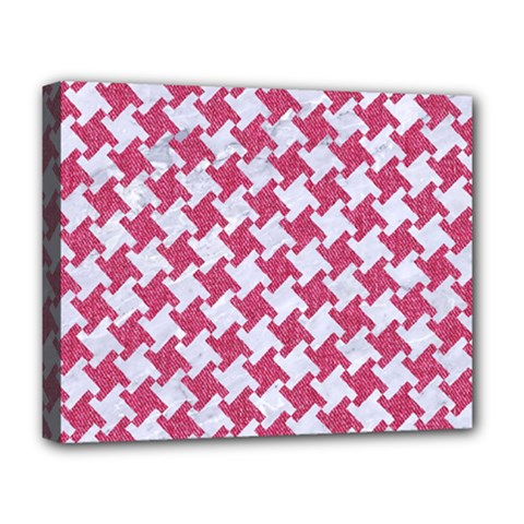 Houndstooth2 White Marble & Pink Denim Deluxe Canvas 20  X 16
