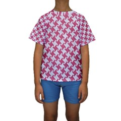 Houndstooth2 White Marble & Pink Denim Kids  Short Sleeve Swimwear