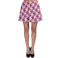 Houndstooth2 White Marble & Pink Denim Skater Skirt