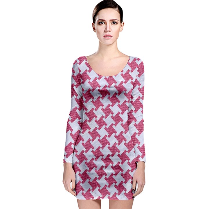 HOUNDSTOOTH2 WHITE MARBLE & PINK DENIM Long Sleeve Bodycon Dress