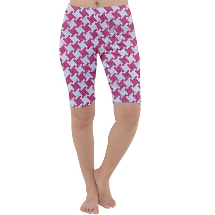 HOUNDSTOOTH2 WHITE MARBLE & PINK DENIM Cropped Leggings