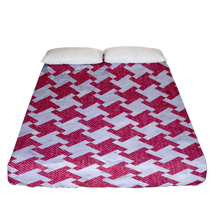 HOUNDSTOOTH2 WHITE MARBLE & PINK DENIM Fitted Sheet (King Size)