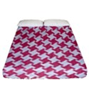 HOUNDSTOOTH2 WHITE MARBLE & PINK DENIM Fitted Sheet (California King Size) View1