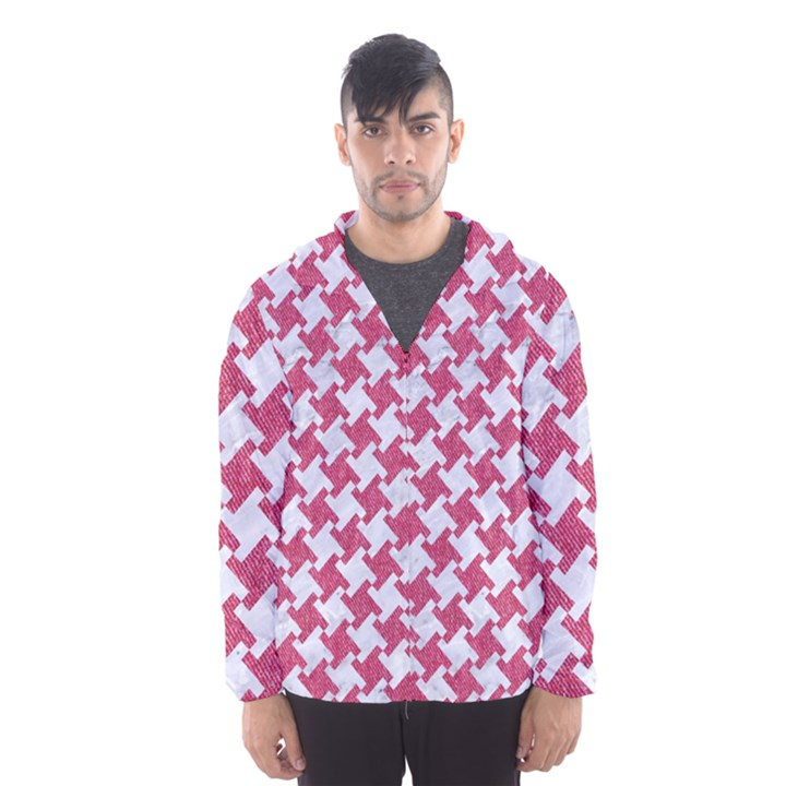 HOUNDSTOOTH2 WHITE MARBLE & PINK DENIM Hooded Windbreaker (Men)