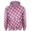 HOUNDSTOOTH2 WHITE MARBLE & PINK DENIM Men s Pullover Hoodie View1
