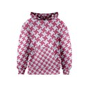 HOUNDSTOOTH2 WHITE MARBLE & PINK DENIM Kids  Pullover Hoodie View1