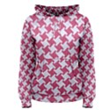 HOUNDSTOOTH2 WHITE MARBLE & PINK DENIM Women s Pullover Hoodie View1