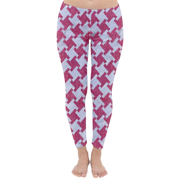 HOUNDSTOOTH2 WHITE MARBLE & PINK DENIM Classic Winter Leggings