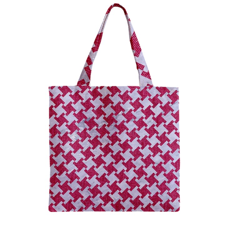 HOUNDSTOOTH2 WHITE MARBLE & PINK DENIM Zipper Grocery Tote Bag