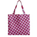 HOUNDSTOOTH2 WHITE MARBLE & PINK DENIM Zipper Grocery Tote Bag View2