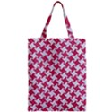 HOUNDSTOOTH2 WHITE MARBLE & PINK DENIM Zipper Classic Tote Bag View1