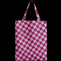 HOUNDSTOOTH2 WHITE MARBLE & PINK DENIM Zipper Classic Tote Bag View2