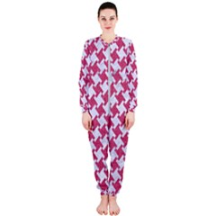 Houndstooth2 White Marble & Pink Denim Onepiece Jumpsuit (ladies)