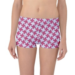 Houndstooth2 White Marble & Pink Denim Boyleg Bikini Bottoms
