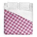 HOUNDSTOOTH2 WHITE MARBLE & PINK DENIM Duvet Cover (Full/ Double Size) View1