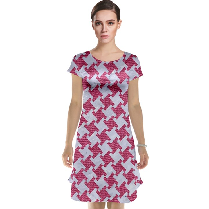 HOUNDSTOOTH2 WHITE MARBLE & PINK DENIM Cap Sleeve Nightdress