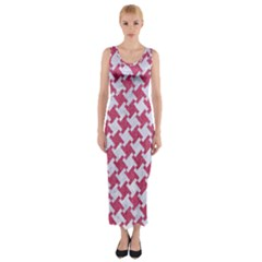 Houndstooth2 White Marble & Pink Denim Fitted Maxi Dress