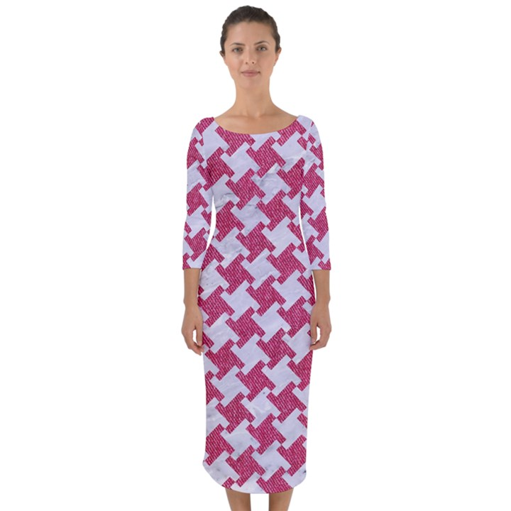 HOUNDSTOOTH2 WHITE MARBLE & PINK DENIM Quarter Sleeve Midi Bodycon Dress