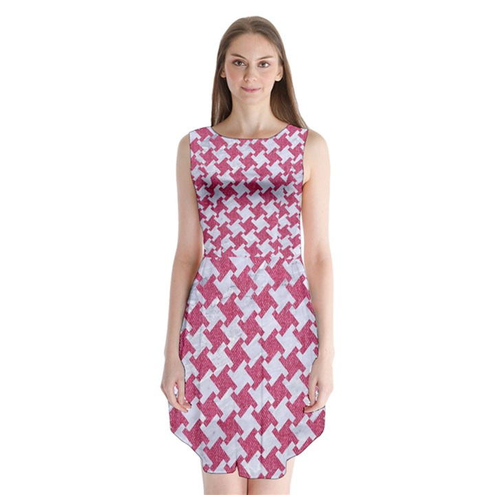 HOUNDSTOOTH2 WHITE MARBLE & PINK DENIM Sleeveless Chiffon Dress