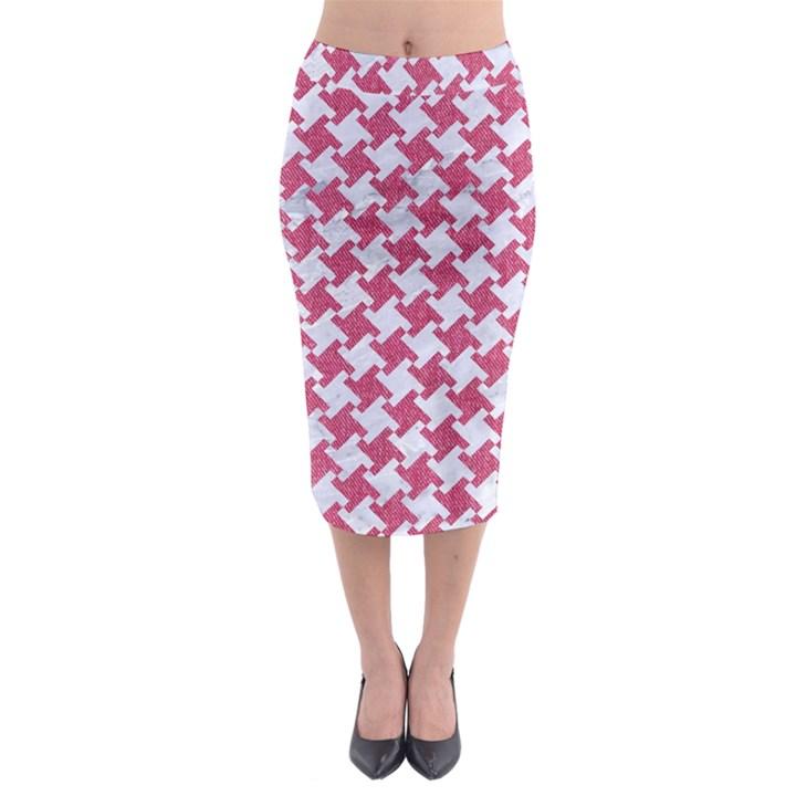 HOUNDSTOOTH2 WHITE MARBLE & PINK DENIM Midi Pencil Skirt