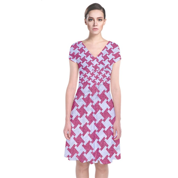 HOUNDSTOOTH2 WHITE MARBLE & PINK DENIM Short Sleeve Front Wrap Dress