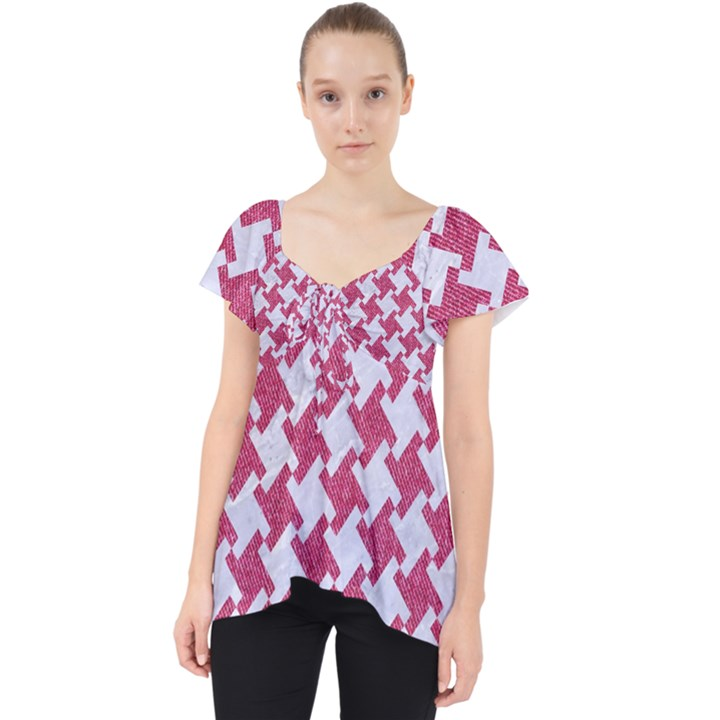 HOUNDSTOOTH2 WHITE MARBLE & PINK DENIM Lace Front Dolly Top