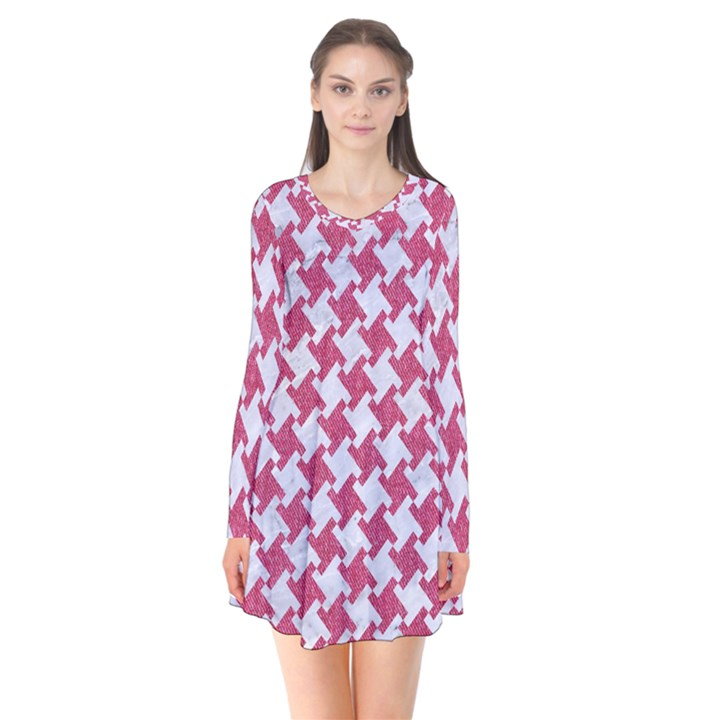 HOUNDSTOOTH2 WHITE MARBLE & PINK DENIM Flare Dress