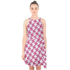 Houndstooth2 White Marble & Pink Denim Halter Collar Waist Tie Chiffon Dress