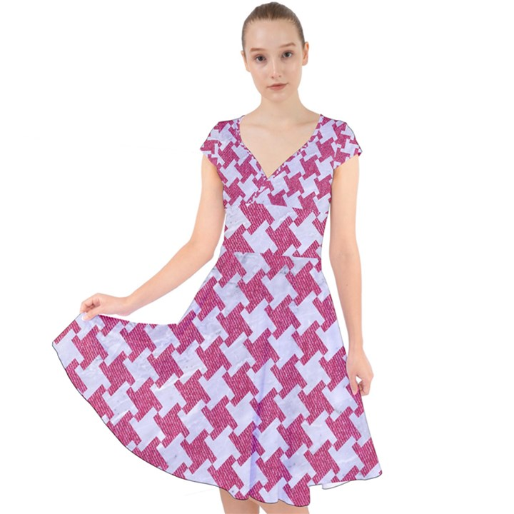 HOUNDSTOOTH2 WHITE MARBLE & PINK DENIM Cap Sleeve Front Wrap Midi Dress