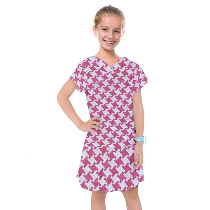 HOUNDSTOOTH2 WHITE MARBLE & PINK DENIM Kids  Drop Waist Dress