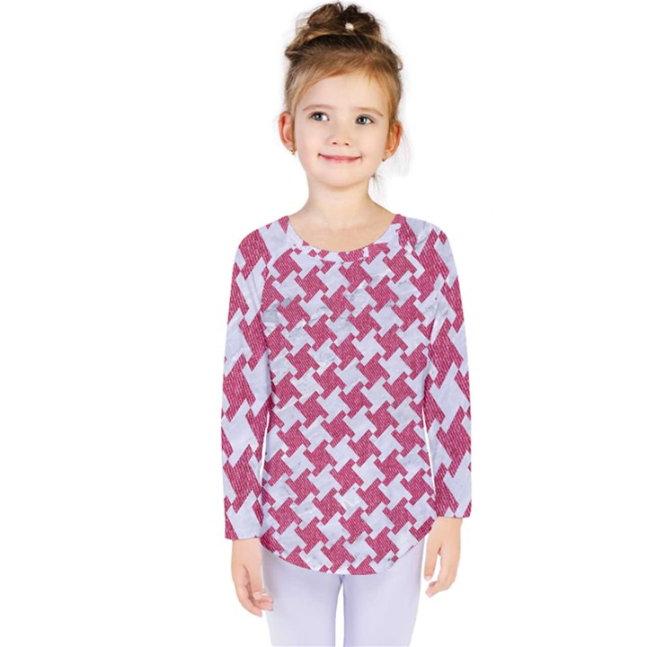 HOUNDSTOOTH2 WHITE MARBLE & PINK DENIM Kids  Long Sleeve Tee