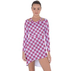 Houndstooth2 White Marble & Pink Denim Asymmetric Cut Out Shift Dress