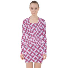 Houndstooth2 White Marble & Pink Denim V Neck Bodycon Long Sleeve Dress