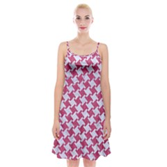 Houndstooth2 White Marble & Pink Denim Spaghetti Strap Velvet Dress