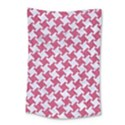HOUNDSTOOTH2 WHITE MARBLE & PINK DENIM Small Tapestry View1