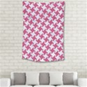 HOUNDSTOOTH2 WHITE MARBLE & PINK DENIM Small Tapestry View2