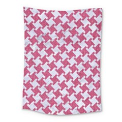 Houndstooth2 White Marble & Pink Denim Medium Tapestry