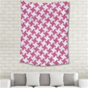 HOUNDSTOOTH2 WHITE MARBLE & PINK DENIM Medium Tapestry View2