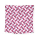 HOUNDSTOOTH2 WHITE MARBLE & PINK DENIM Square Tapestry (Small) View1
