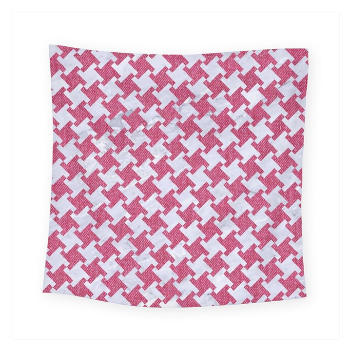 HOUNDSTOOTH2 WHITE MARBLE & PINK DENIM Square Tapestry (Small)