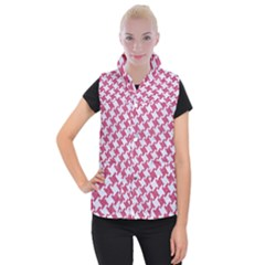 Houndstooth2 White Marble & Pink Denim Women s Button Up Vest