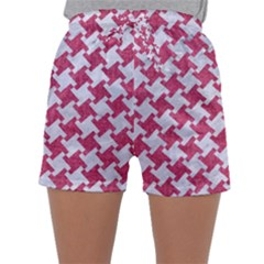 Houndstooth2 White Marble & Pink Denim Sleepwear Shorts
